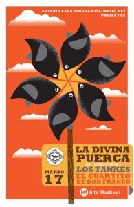 La Divina Puerca (Cd. Juárez), Los Tankes y El Cuartito de Don Franco este Sábado 17 de Marzo @ Galería Las Ánimas