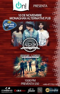 Aurum y Somos Logan este Sábado 10 de Noviembre @ Monaghan (León, Guanajuato)