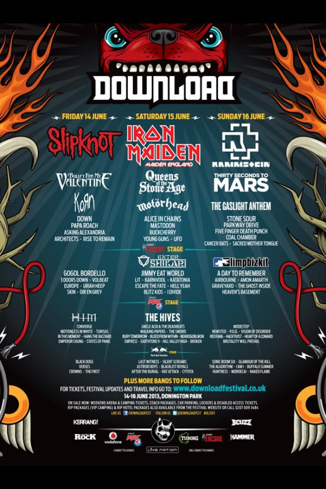 Cartel del Download Festival 2013