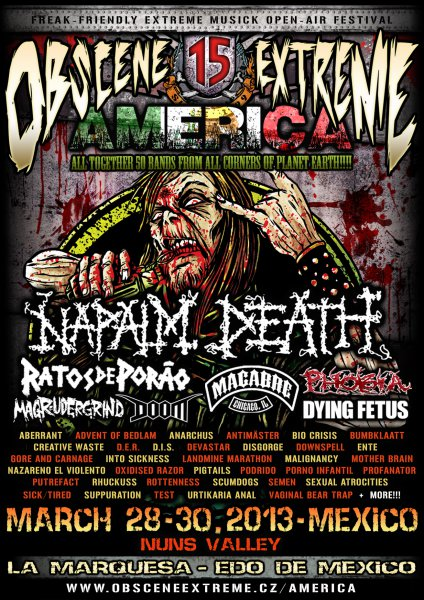 Cartel del Obscene Extreme Festival en México