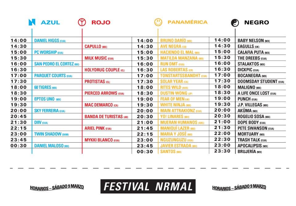 Horarios del Festival Nrmal 2013