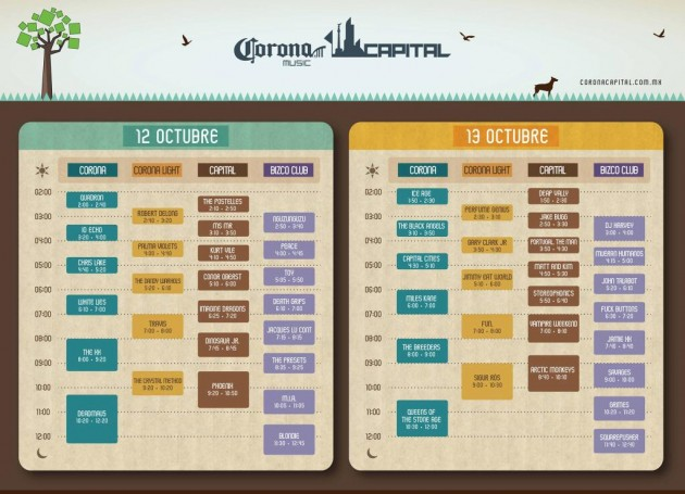 Horarios del Corona Capital 2013