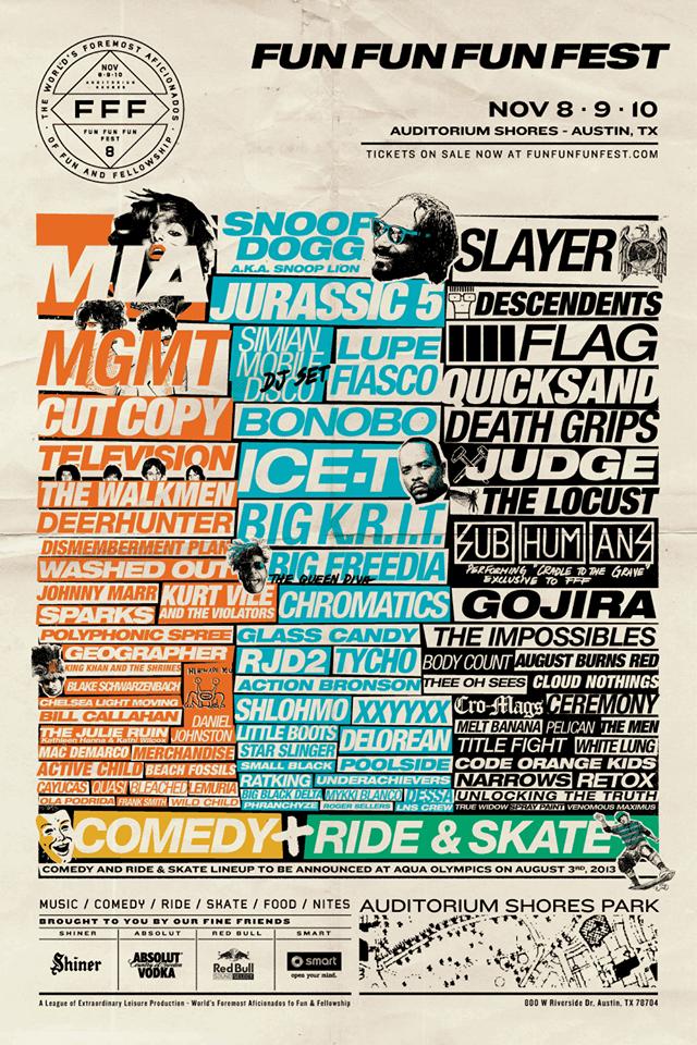 Cartel oficial del Fun Fun Fun Fest 2013