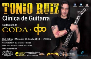 Clínica de guitarra con Tonio Ruíz este miércoles 17 de julio @ Club Bolívar