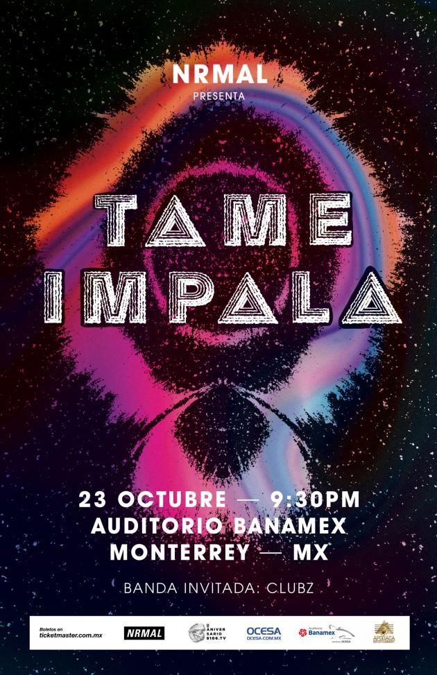 Cartel oficial de Tame Impala en la ciudad de Monterrey, NL.