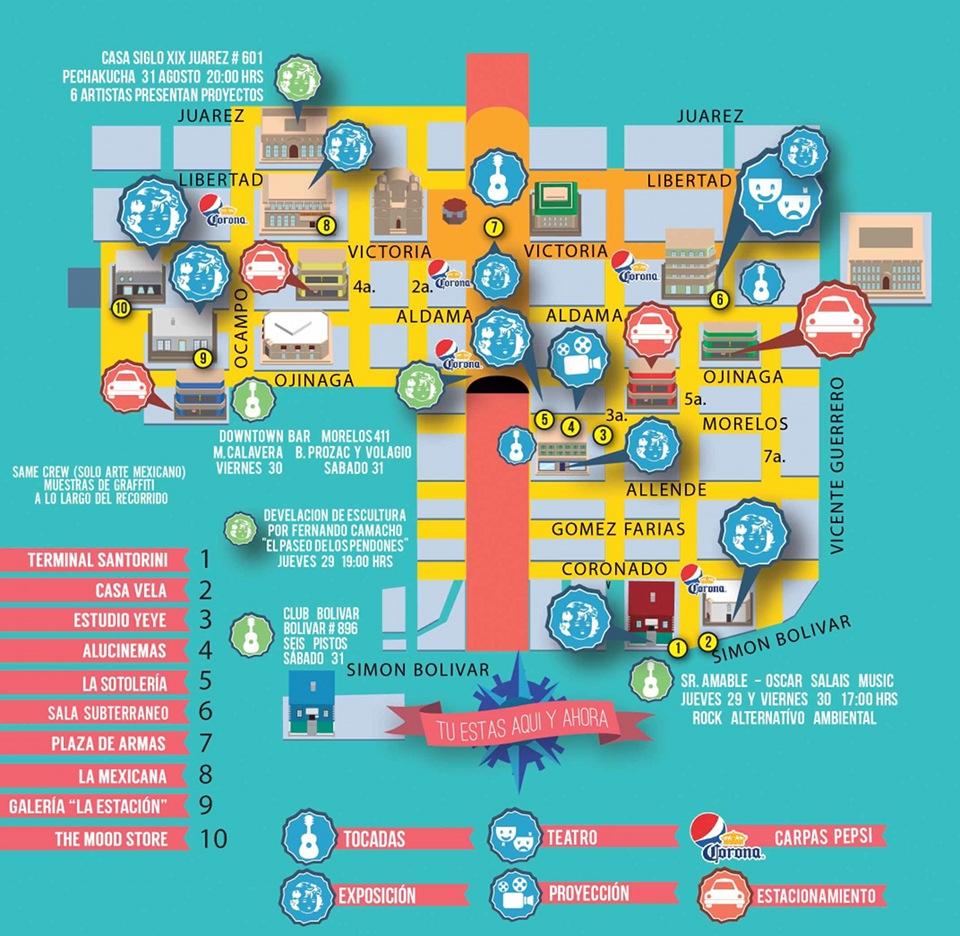 Mapa de La Ruta 1 de Arte y Cultura en el Centro Histórico de la Ciudad de Chihuahua