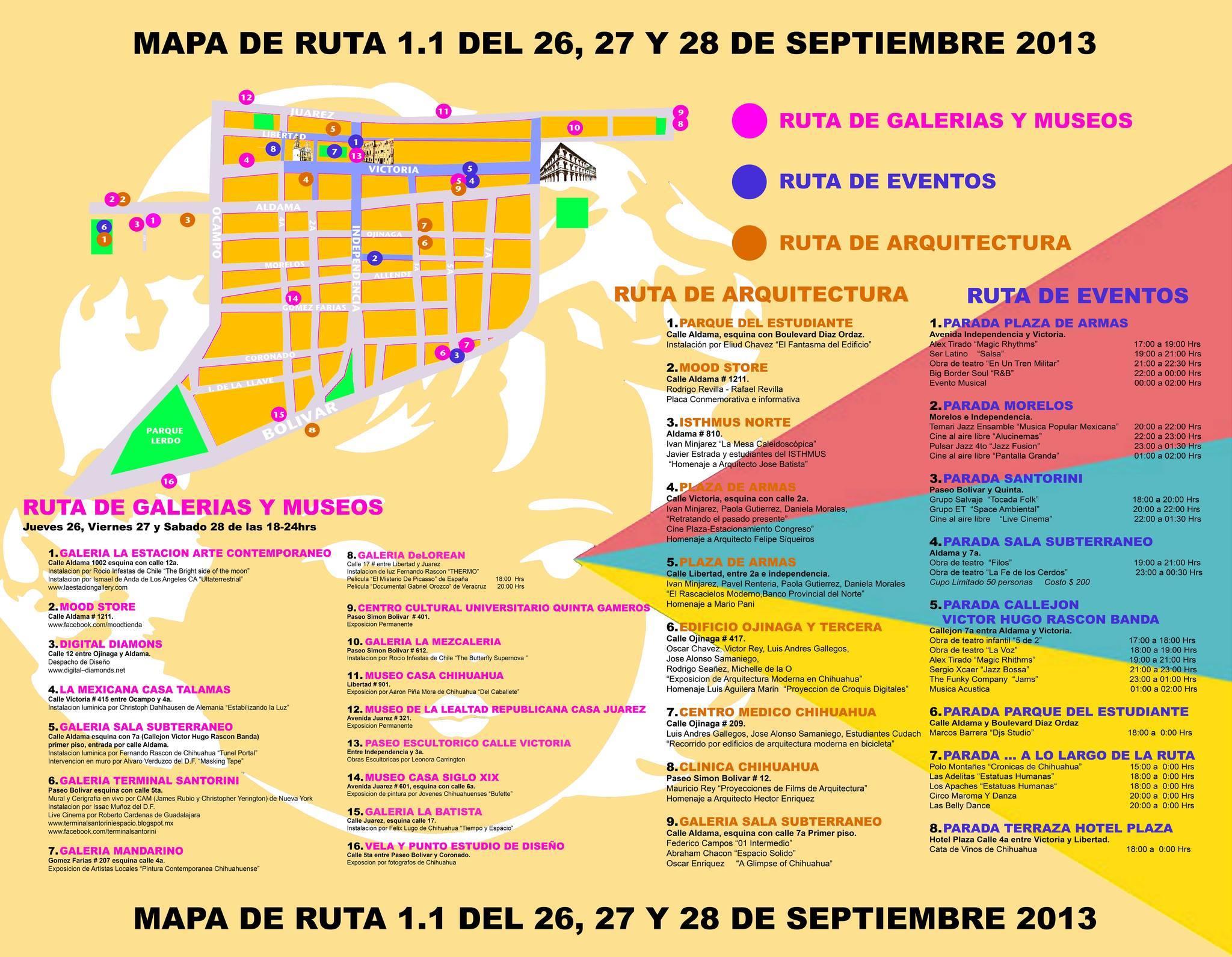 Mapa y calendario de eventos de La Ruta 1.1