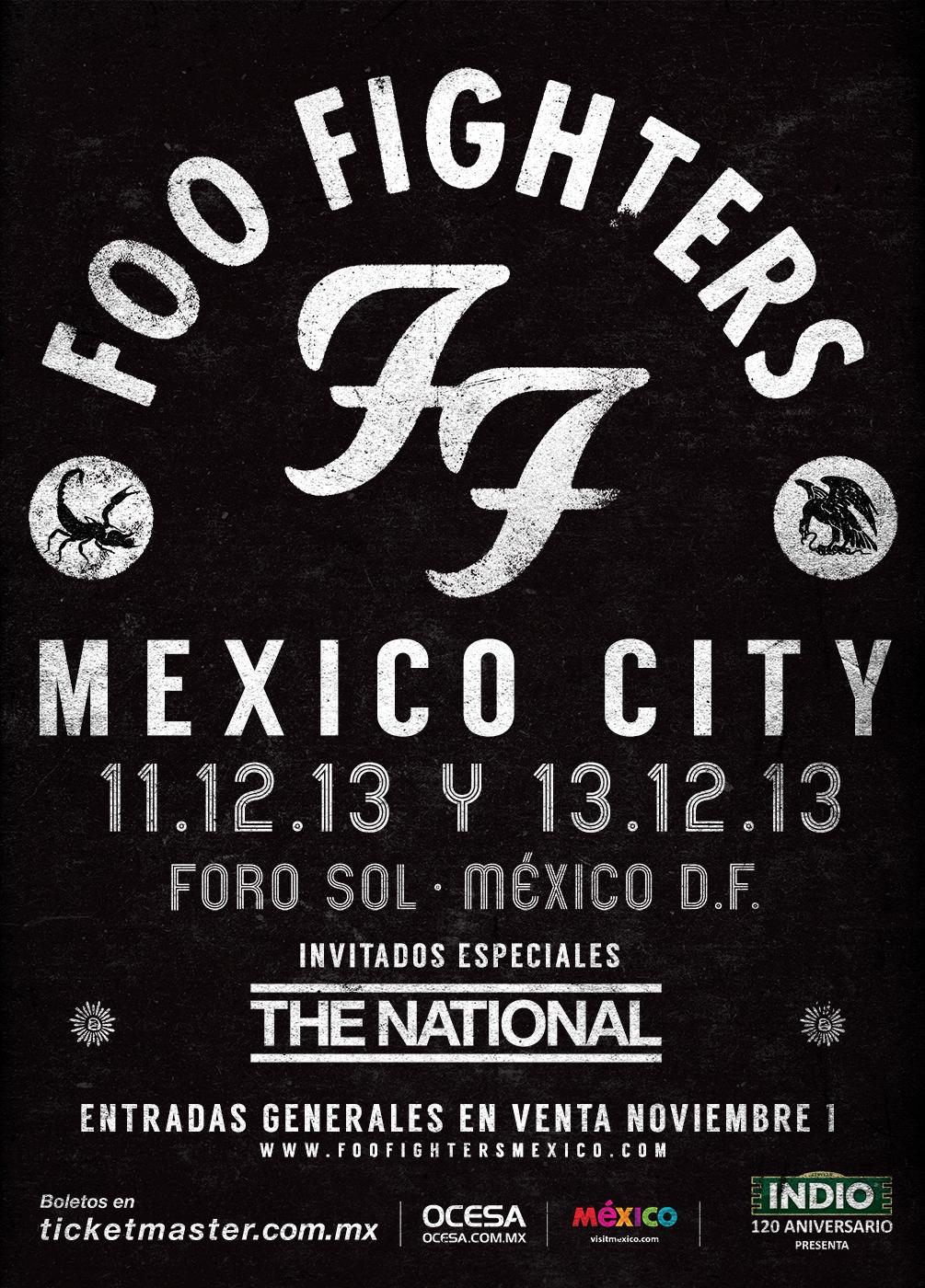 Flyer de los conciertos de Foo Fighters en México