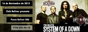 Tributo a System Of A Down este sábado 16 de noviembre @ Club Bolívar