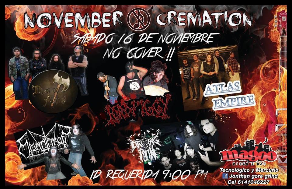 November Cremation este sábado 16 de noviembre @ Magoo Bar