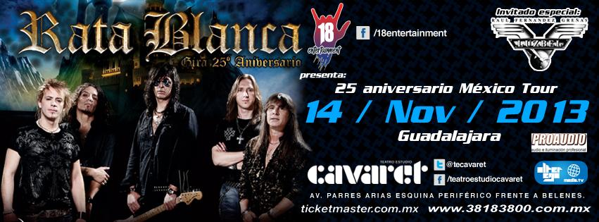 Rata Blanca este jueves 14 de noviembre @ Teatro Estudio Cavaret