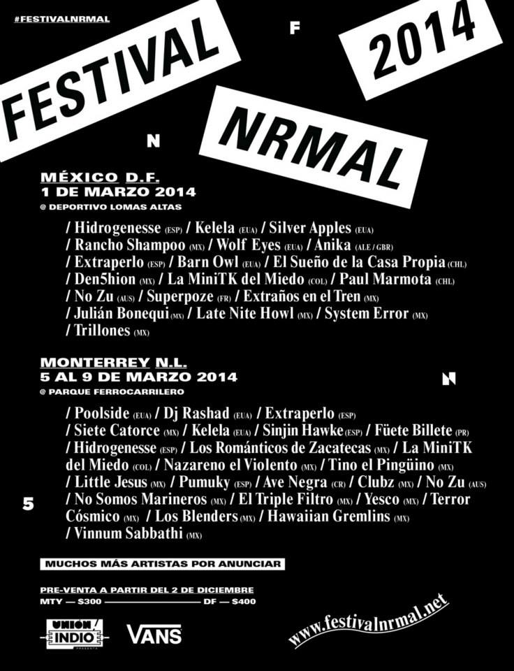 El festival Nrmal 2014 se llevará a cabo del 1 al 9 de marzo en la Ciudad de México y Monterrey, NL.