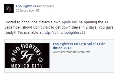 Confirmación de la noticia de parte de Foo Fighters