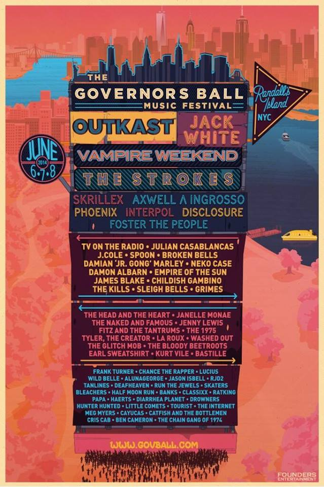 Cartel oficial del The Governors Ball Music Fest 2014