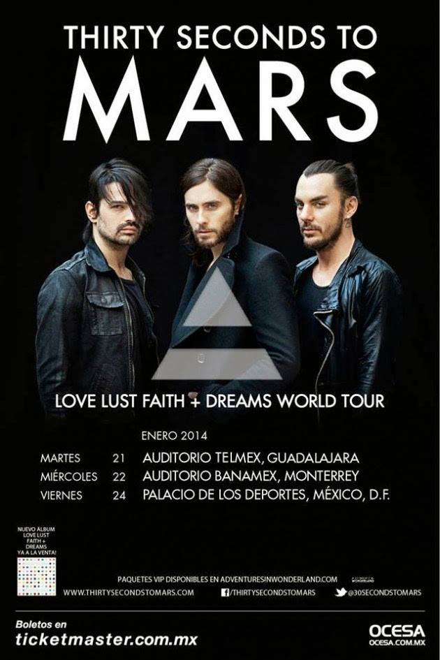 Thirty Seconds To Mars este martes 21 de enero @ Auditorio Telmex (Guadalajara, Jal.)