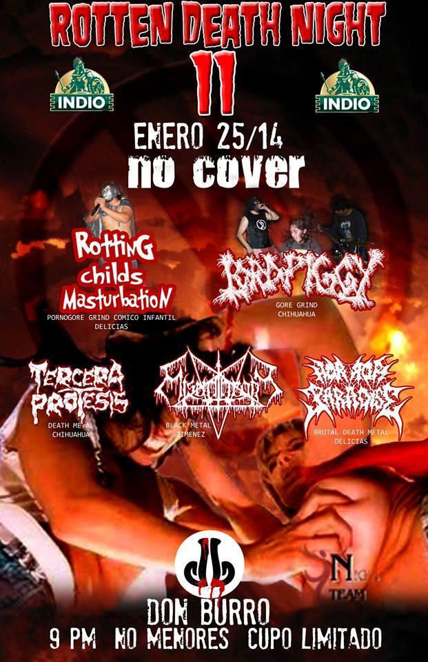 Rotten Death Night 11 este sábado 25 de enero @ Don Burro Foro Cultural