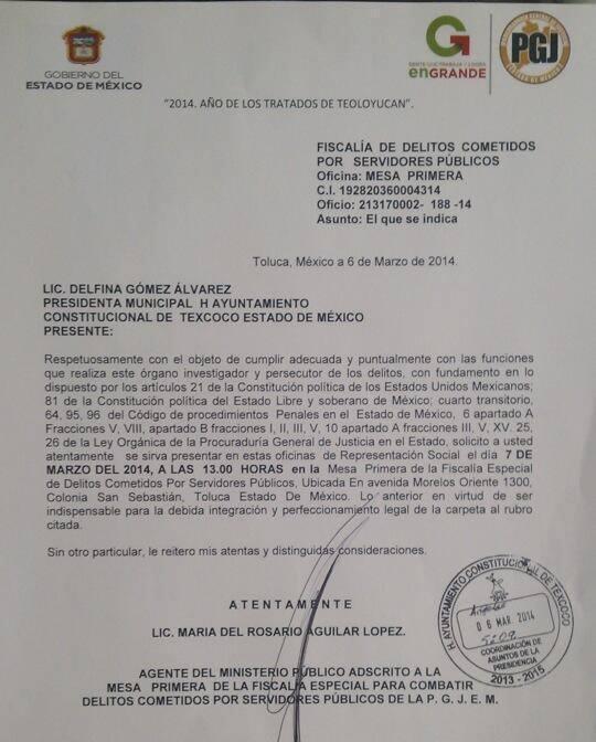 Citatorio a la Presidenta Municipal de Texcoco