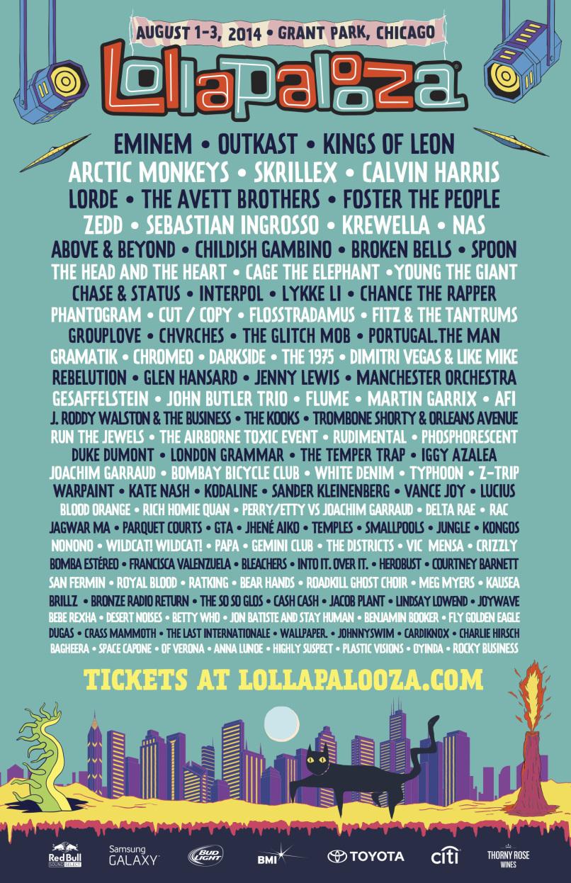 Cartel oficial del Lollapalooza 2014