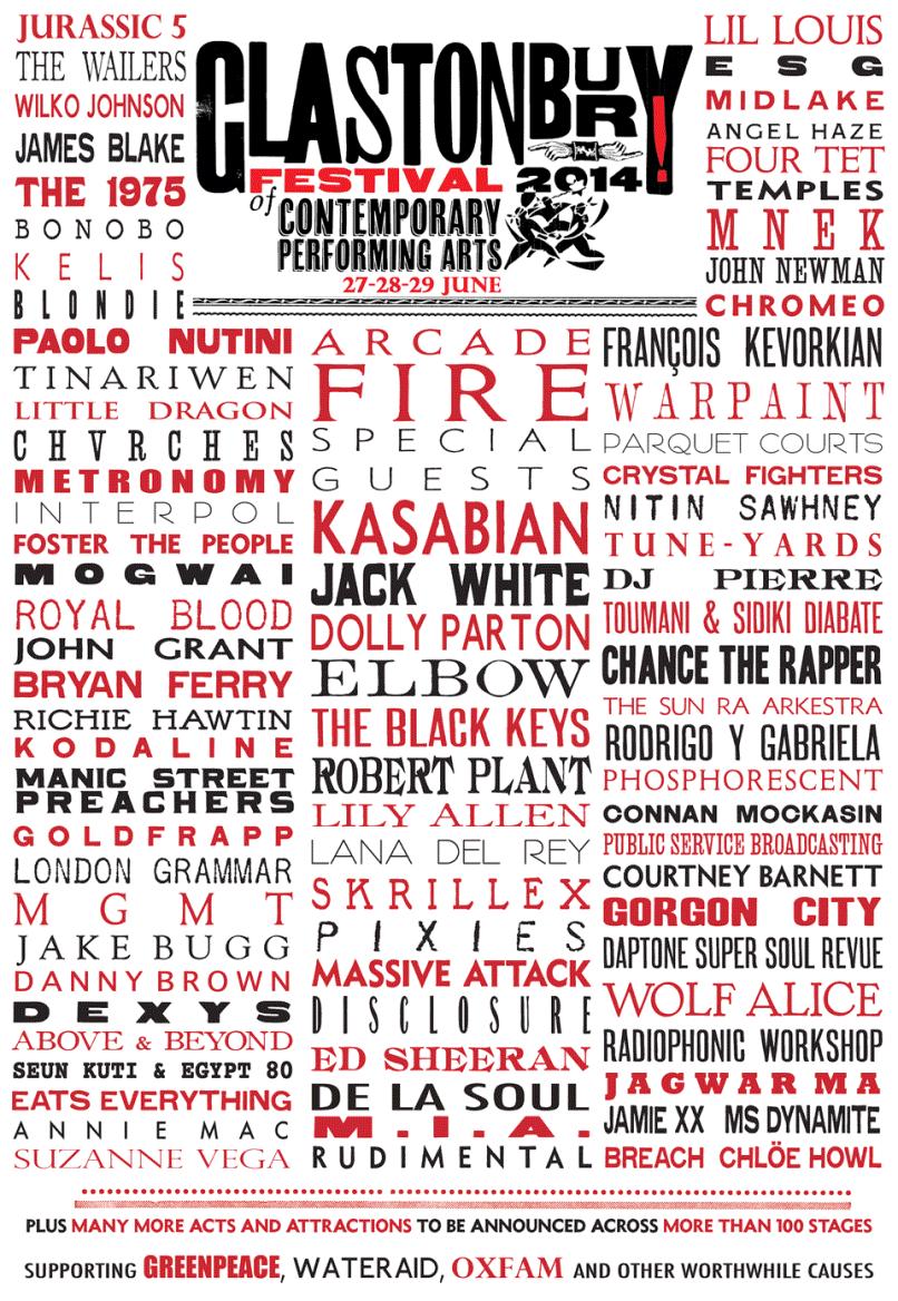 Cartel oficial del Festival Glastonbury 2014