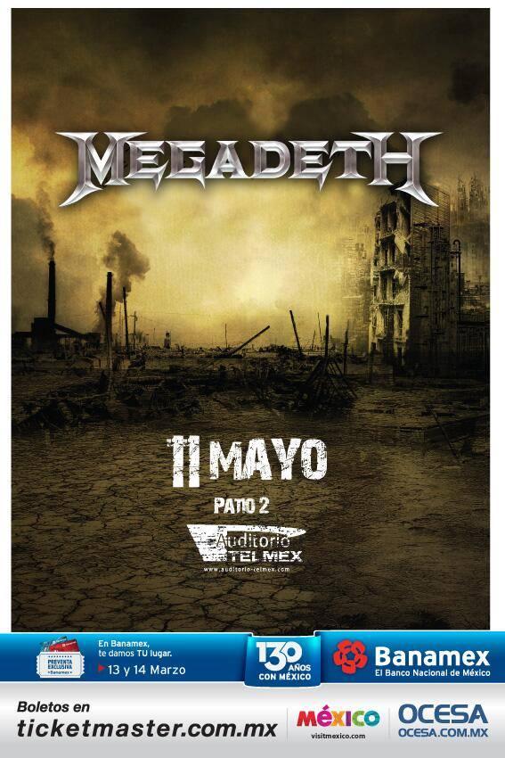 Megadeth este domingo 11 de mayo @ Auditorio Telmex (Guadalajara, Jal.)