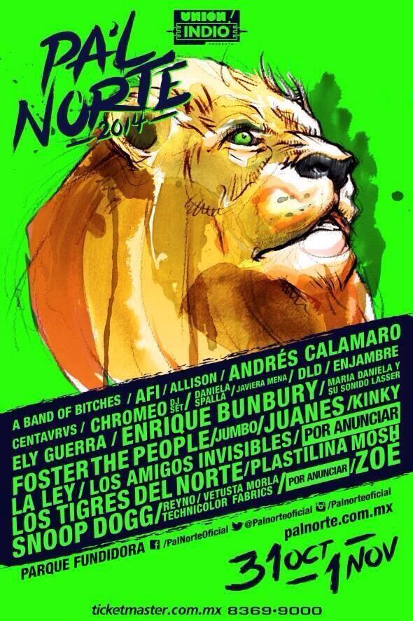 Cartel oficial del Pa'l Norte Rock Fest 2014